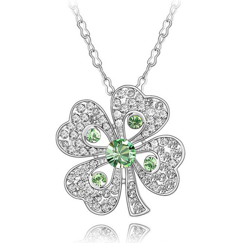 Crystal Four Leaf Clover Pendant Necklace, Peridot Greenwith, FREE  Chain