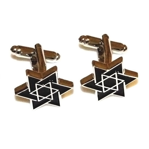 Black Star of David Stainless Steel Cuff Links