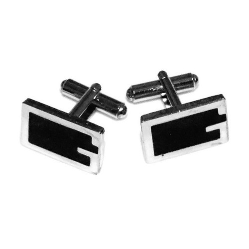 Black 'G' Initial Stainless Steel Cuff Links