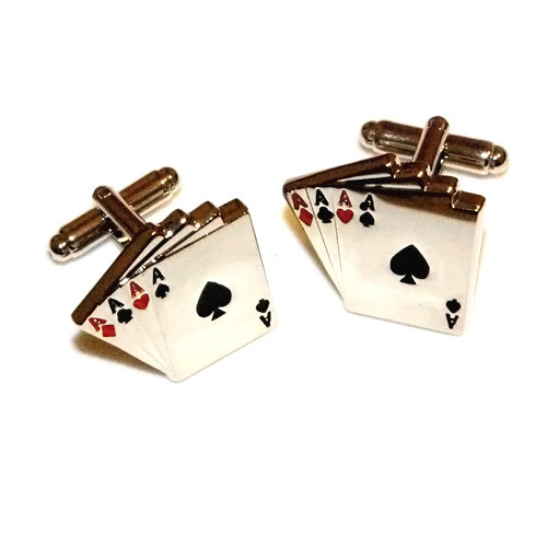 Stainless Steel Ace Playing Card Cuff Links