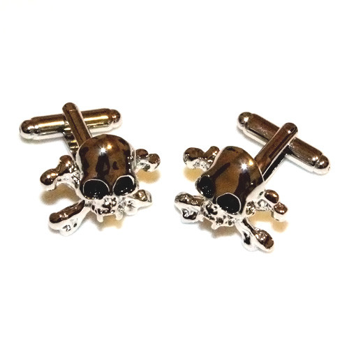 Skull and Crossbones Stainless Steel Cuff Links