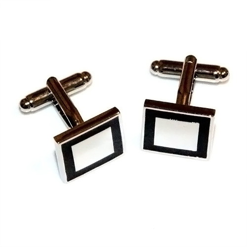 Polished Black Edge Square Stainless Steel Cufflinks