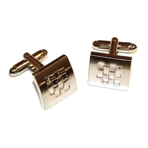 Brushed Stainless Steel Checkerboard Cufflinks