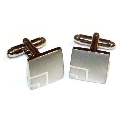 Brushed Stainless Steel Laser-Etched Square Cufflinks
