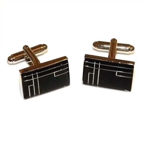 Polished Stainless Steel Black-fill Wire Cufflinks