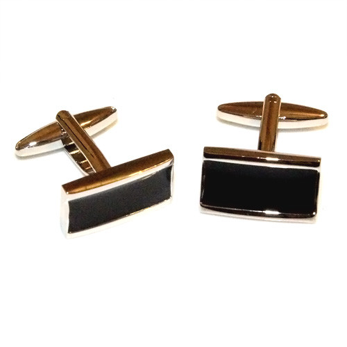 Black-Fill Stainless Steel Polished Cufflinks