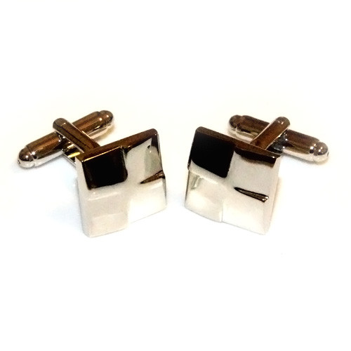 Polished Asymmetrical Square Stainless Steel Cufflinks