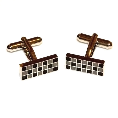 Polished Black and Grey Checker Stainless Steel Cufflinks