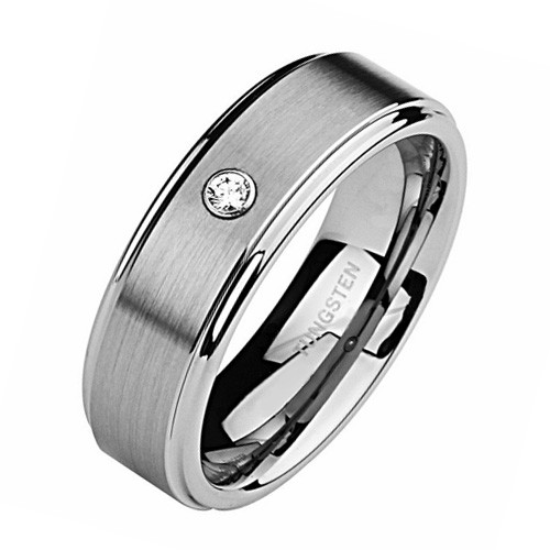 8MM Men Tungsten Ring, Flat Brush Top Finish with CZ Stone, Step Edge