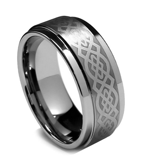 8MM Men Tungsten Ring, Flat Top Celtic Laser, High Polish Step Edge