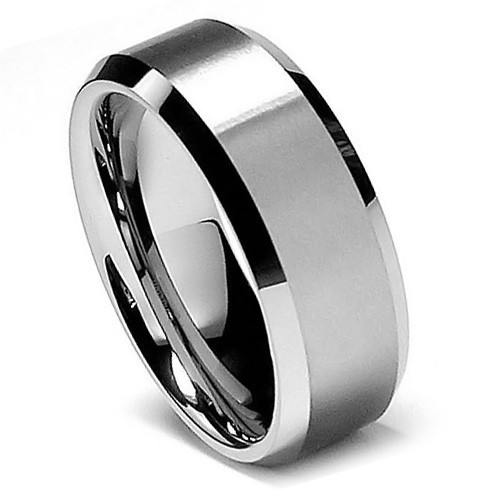 8MM Men Tungsten Ring, Classy Flat Brush Matte Finish, High Polish Bevel Edge