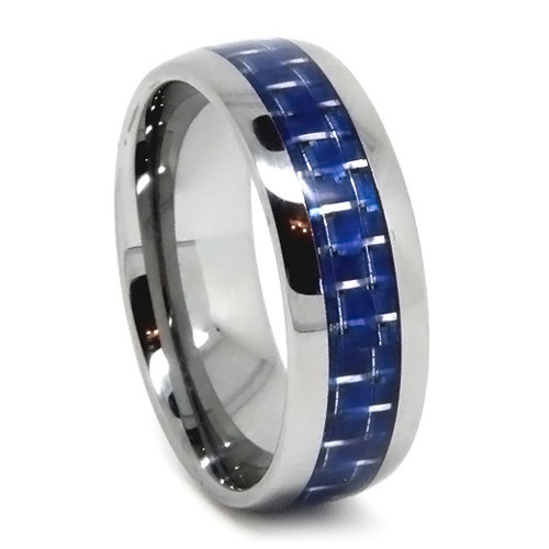8MM Men Tungsten Ring, Blue Carbon Fiber, Dome, High Polish Finish