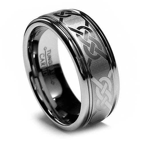 8MM Men Tungsten Ring, Infinity Knot Laser Etching, Flat Top, Step Edge
