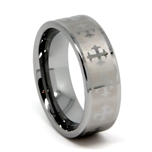 8MM Men Tungsten Ring, Silver Matte Finish and High Polish Gothic Crosses