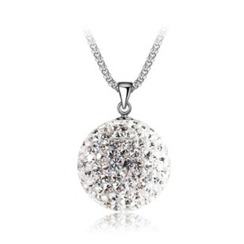Crystal Ball CZ Stone Pendant, 925 Sterling Silver with Free Chain