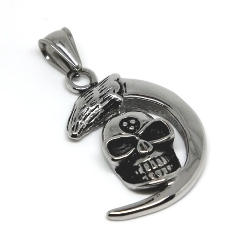 Crescent Moon Stainless Steel Skull Pendant Necklace, 600MM Chain