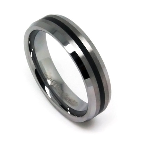 Tungsten Ring, Women Wedding Band with Black Resin Inlaid, Fashion, Classy, 5MM