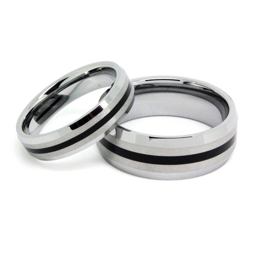 Matching  Classic Tungsten Wedding Bands Set, High Polish Finish, 5MM & 8MM