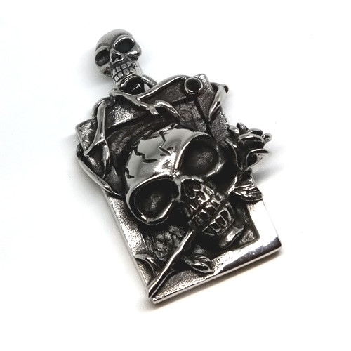 Stainless Steel Framed Skull and Rose Pendant Necklace, 600MM Chain