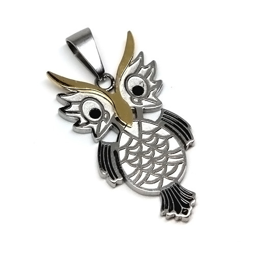 Stainless Steel Horned Owl Pendant Necklace, 600MM Chain