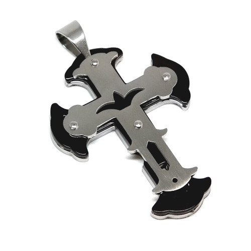 Stainless Steel Stacked Fleur-De-Lis Cross Pendant Necklace, 600MM Chain