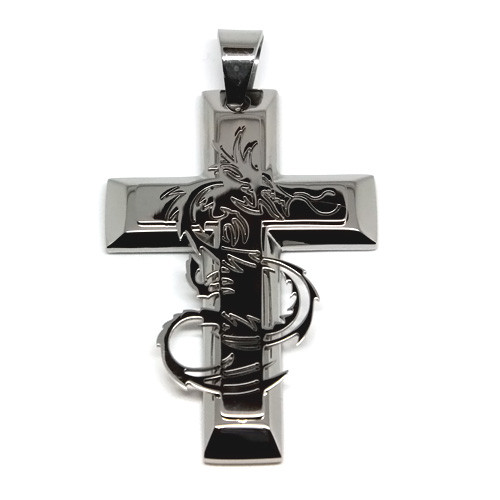 Large Stainless Steel Beveled-Edge Dragon Cross Pendant Necklace, 600MM Chain