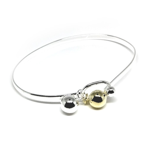 925 Sterling Silver Duo Tone Ball Charm Bangle