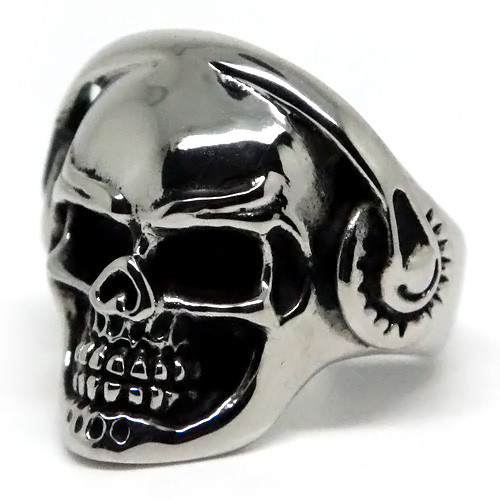 Skull with Headphones, Stainless Steel Ring