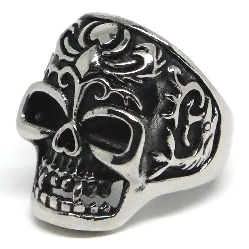 Dracula-Style Skull, Stainless Steel Ring