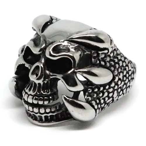 Dragon's Claw and Skull, Stainless Steel Ring