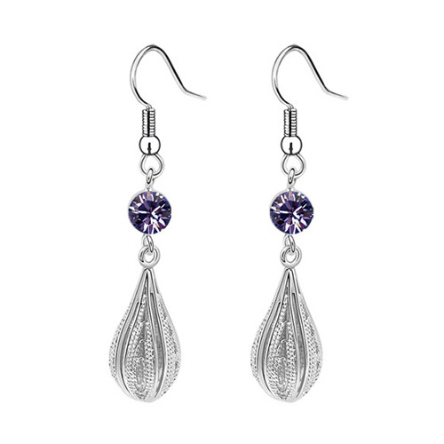 Tear Drop Earring Set, Amethyst Cubic Zirconia Earrings