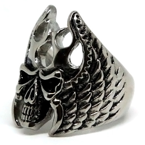 Hawk Man-style Skull Stainless Steel Ring