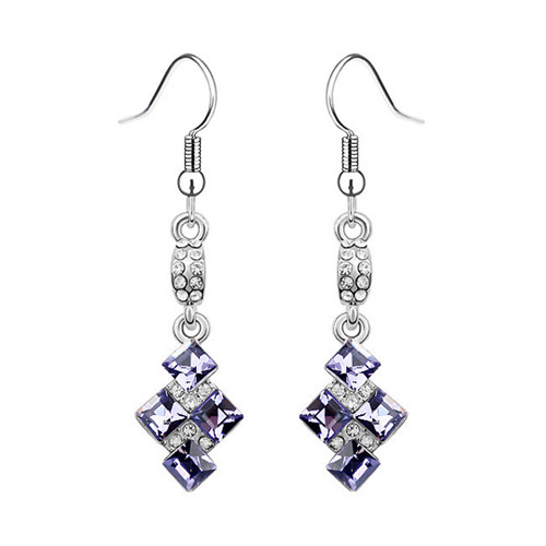 Amethyst Crystal Earring Set, Symmetrical Earrings with Crystal Cubic Zirconia
