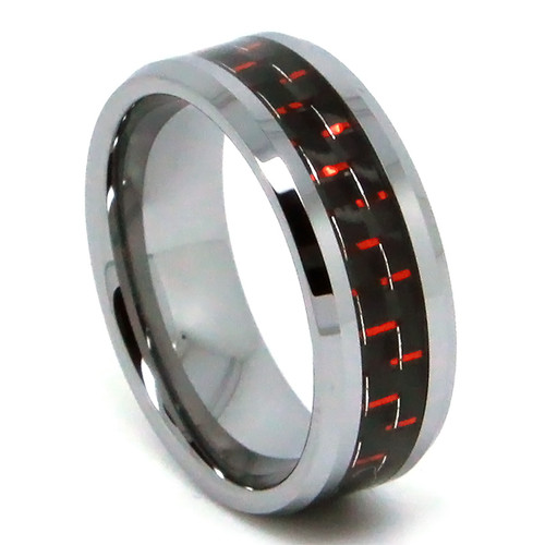 8MM Men Tungsten Ring, Flat Top with Black and Red Carbon Fiber High Polish Bevel Edge