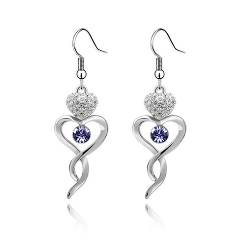 Amethyst Crystal Earring Set, Heart Twisted Earrings