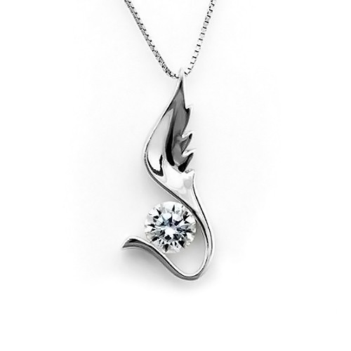 925 Sterling Silver Angel Wing Pendant Necklace,  Cubic Zirconia Free Chain