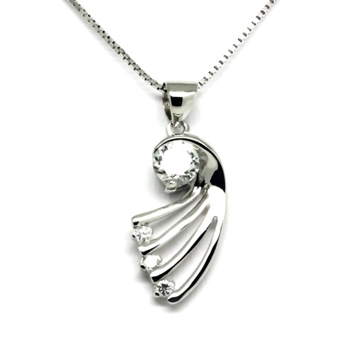925 Sterling Silver Eagle Wing Pendant,  Cubic Zirconia Free Chain