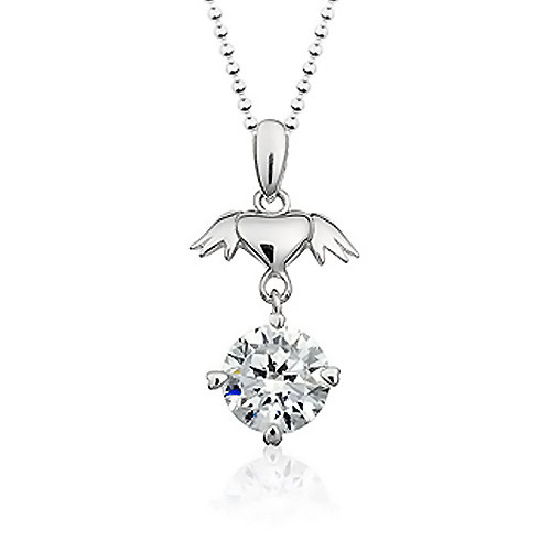 925 Sterling Silver Heart With Wings Pendant,  Cubic Zirconia Free Chain