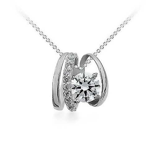925 Sterling Silver Hoop Pendant Necklace,  Cubic Zirconia Chain