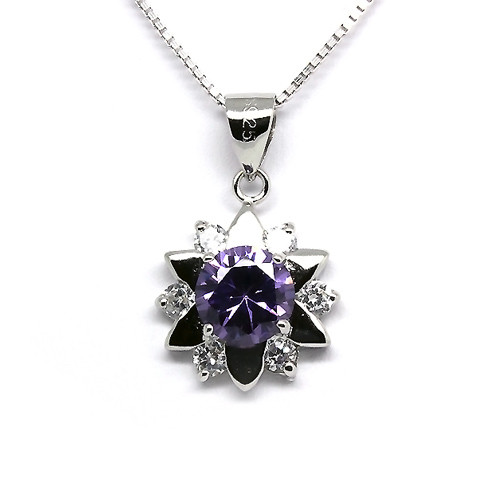 925 Sterling Silver Star Pendant Necklace,  Amethyst Cubic Zirconia Free Chain
