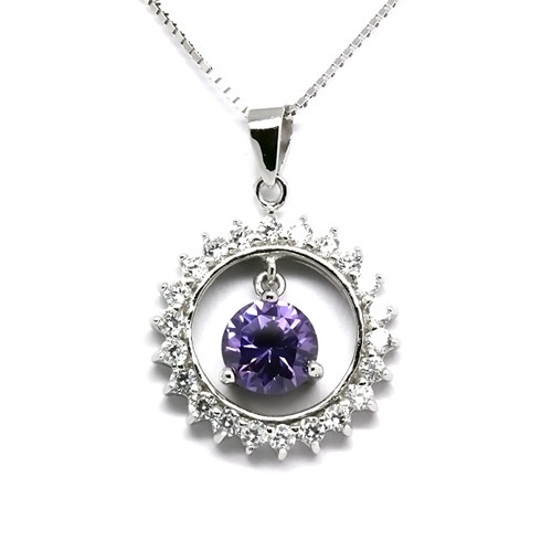 925 Sterling Silver Round Pendant Necklace,  Amethyst Cubic Zirconia Free Chain