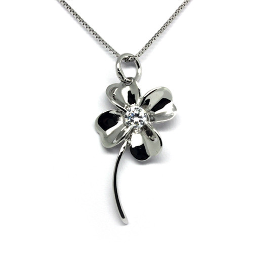 925 Sterling Silver Clover Pendant Necklace, Cubic Zirconia Free Chain