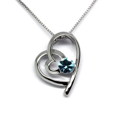 925 Sterling Silver Heart Pendant Necklace, Blue Topaz Cubic Zirconia Free Chain