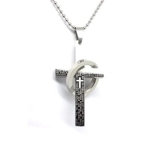 Stainless Steel Religous Cross  Ring Pendant Necklace, Cross Engraved,