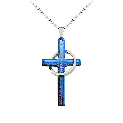 Stainless Steel Blue Cross and Ring Pendant, High Polish