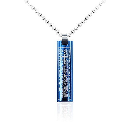 Stainless Steel Blue Stick Pendant Cross imprinted in the middle, High Polish