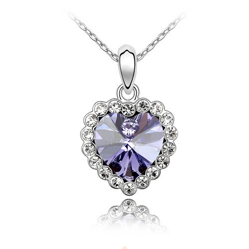 18K Gold Plated Light Purple Crystal Heart Necklace, FREE  Chain