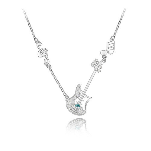 18K Gold Plated Rocking Guitar Crystal Necklace, FREE  Chain
