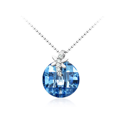 18K Gold Plated Round Aqua  Blue Crystal Necklace, Free Chain