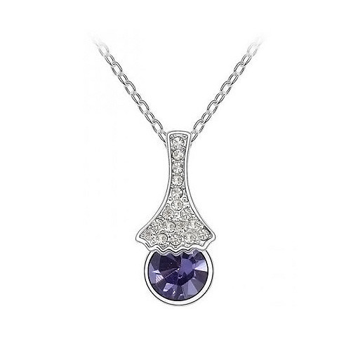 18K Gold Plated Amethyst Crystal Necklace, Elegant and Luxurious Design